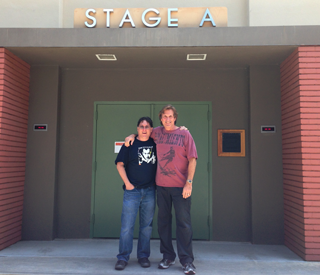 Picture Editor, Mark Livolsi,right and Disney Digital Studios Mixer, David Fluhr in front of historic Stage A where Saving Mr. Banks was mixed.