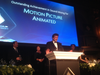 Disney Mixer, David Fluhr accepting CAS Award for Frozen